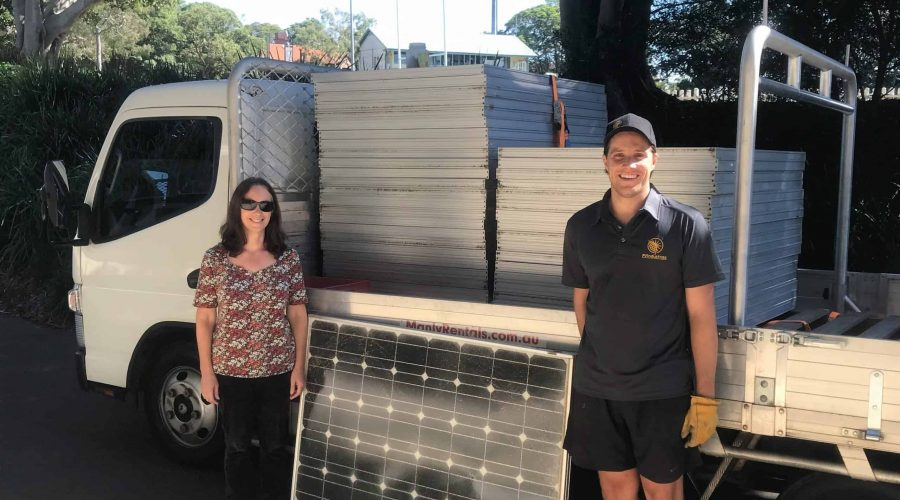 Loani Tierney from Mosman Council and PV Industrie's James Petesic